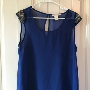 size L Royal Blue Rhinestone Capped Sleeve Blouse